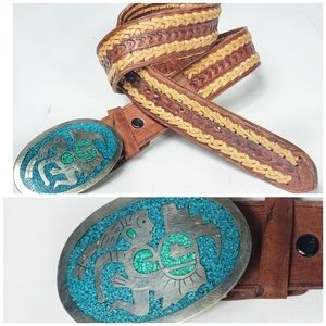 Mexican Turquoise & Silver Woven Belt sz 30